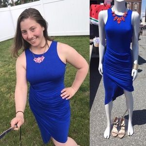 Royal blue ruched stretch knit tank dress